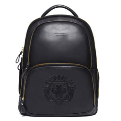Black Sleek & Slim Signature Lion Leather Laptop-Travel Backpack By Brune