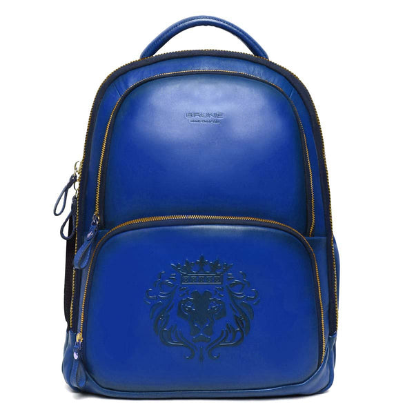 Blue Sleek & Slim Signature Lion Leather Laptop-Travel Backpack By Brune