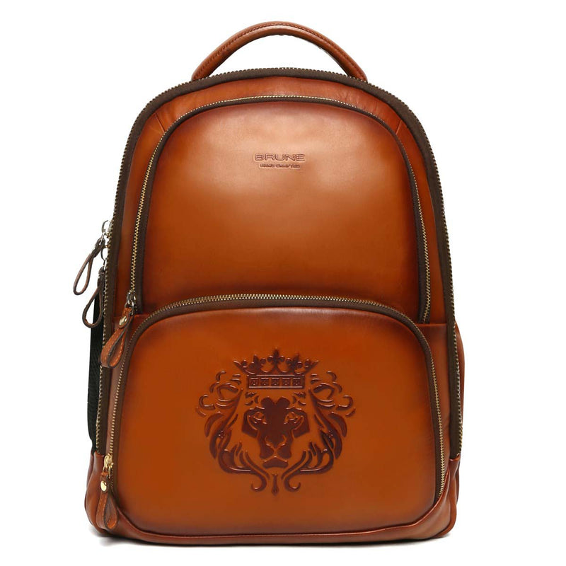 Tan Sleek & Slim Signature Lion Leather Laptop-Travel Backpack By Brune