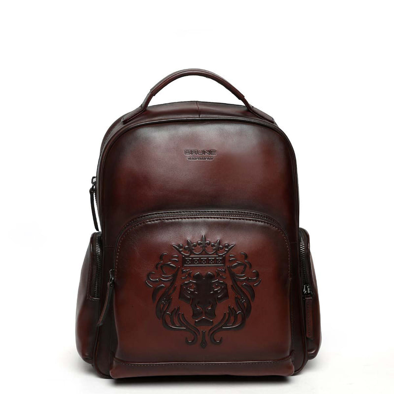 Brown Leather Signature Lion Women Travel-College Backpack By Brune