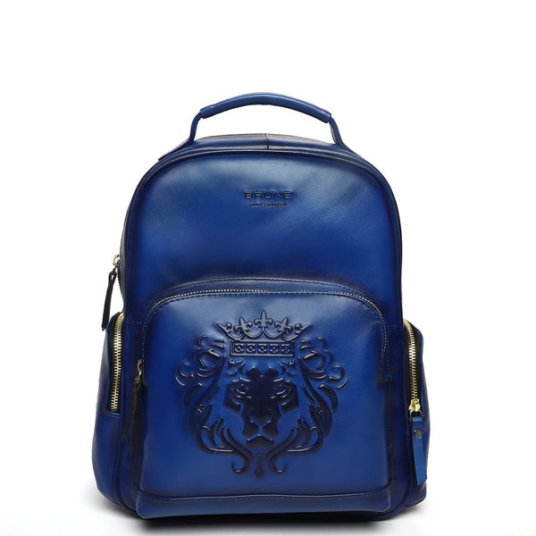 Blue Leather Signature Lion Women Travel-College Backpack By Brune