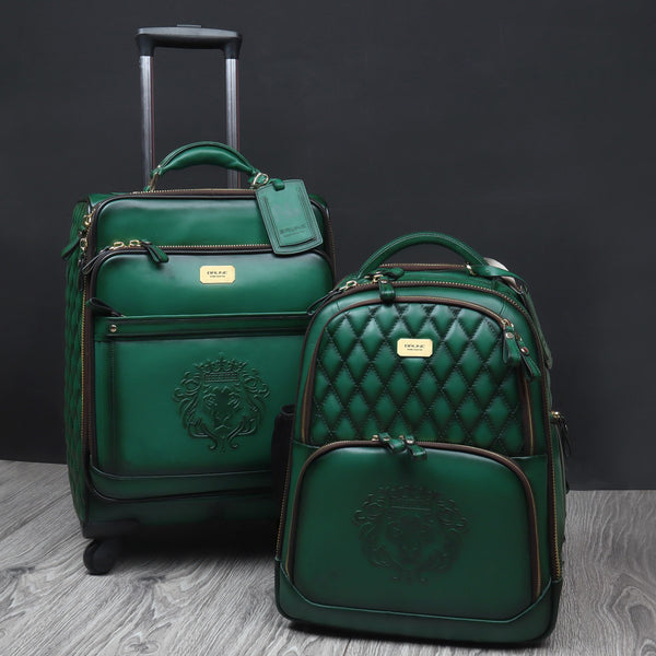 Green Leather Diamond Stitched Quad Wheel Trolly Bag by Brune & Bareskin