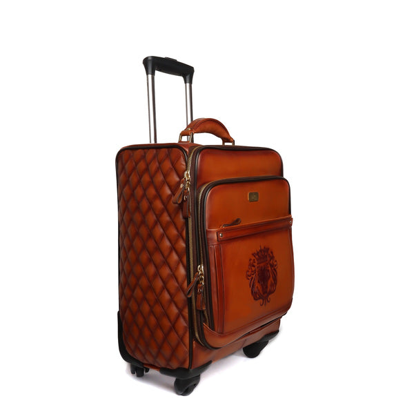 Tan Leather Diamond Stitched Quad Wheel Trolly Bag by Brune & Bareskin