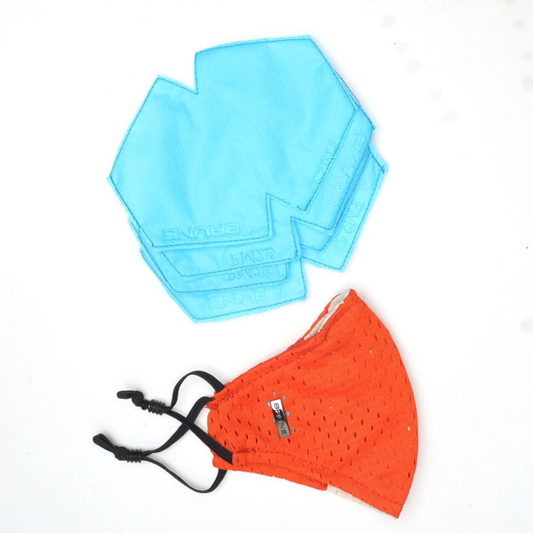 Orange Washable - Reusable Easy Carry Face Mask by BARESKIN (Pack of 2)