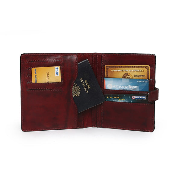 Wine Two Fold Button Lock Leather Passport Holder By Brune