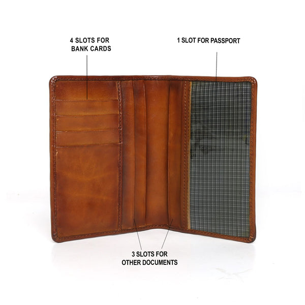 Tan Leather Two Fold Passport Holder & Wallet By Brune