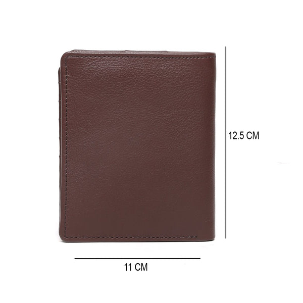 Brown passport holder with metal lion logo and wallet+ cards slots in one .