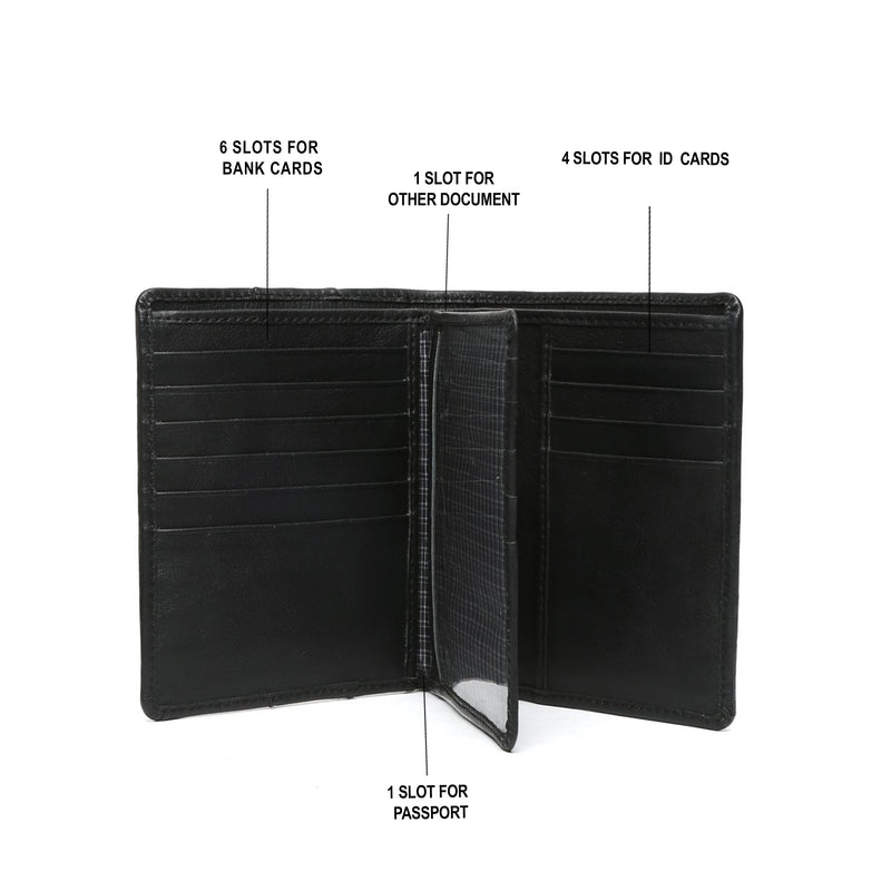Black leather passport cover with card and wallet features by bareskin .