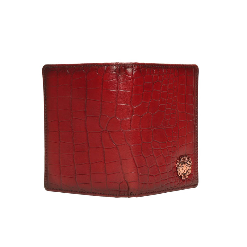 Wine Croco Leather Passport Holder in Leather with card and wallet slots By Brune & Bareskin