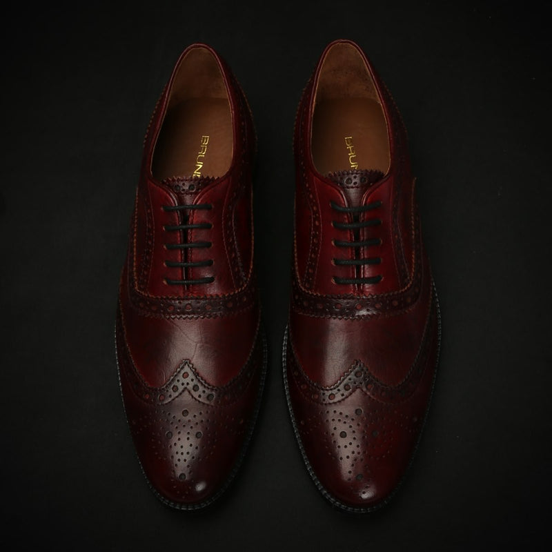 Wine Genuine Leather Formal Shoes By Brune