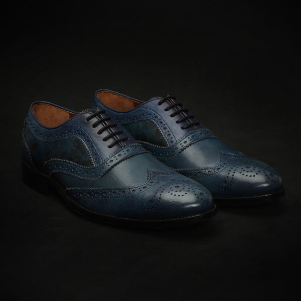 Blue Dual Shade Leather Full Brogue Wingtip Oxford Shoes By Brune