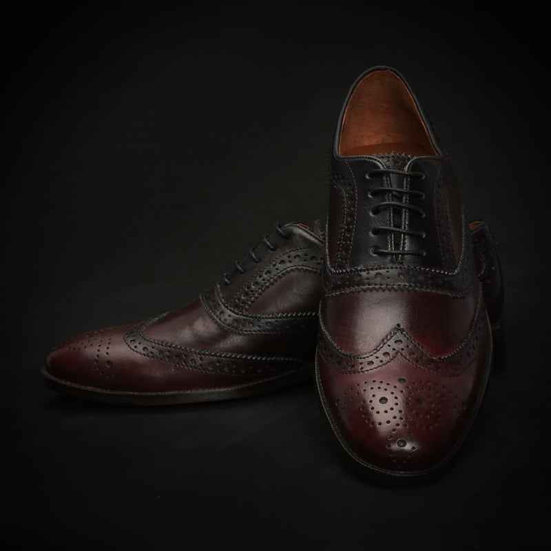Dark Wine Dual Shade Leather Full Brogue Wingtip Oxford Shoes By Brune