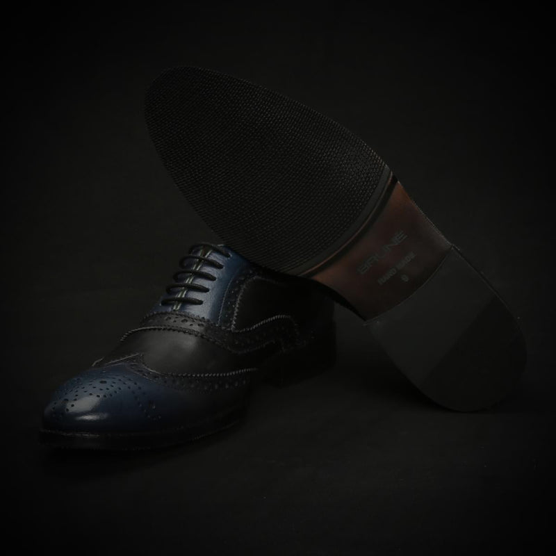 Blue & Black Dual Color Leather Full Brogue Wingtip Oxford Shoes By Brune