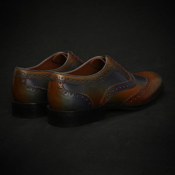 Tan & Blue Leather Full Brogue Wingtip Oxford Shoes By Brune