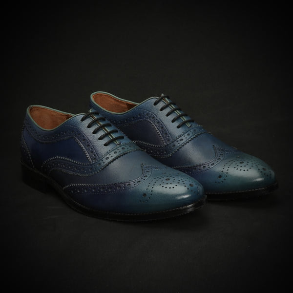 Prussian Blue Dual Shade Leather Full Brogue Wingtip Oxford Shoes By Brune