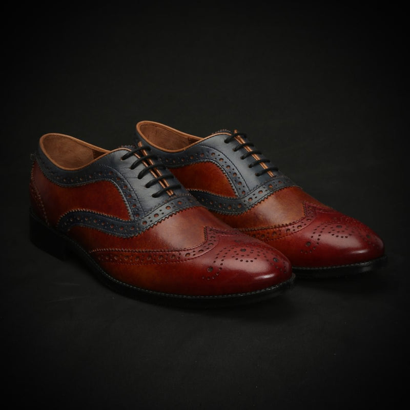 Red, Blue, Tan Tri Color Leather Full Brogue Wingtip Oxford Shoes By Brune