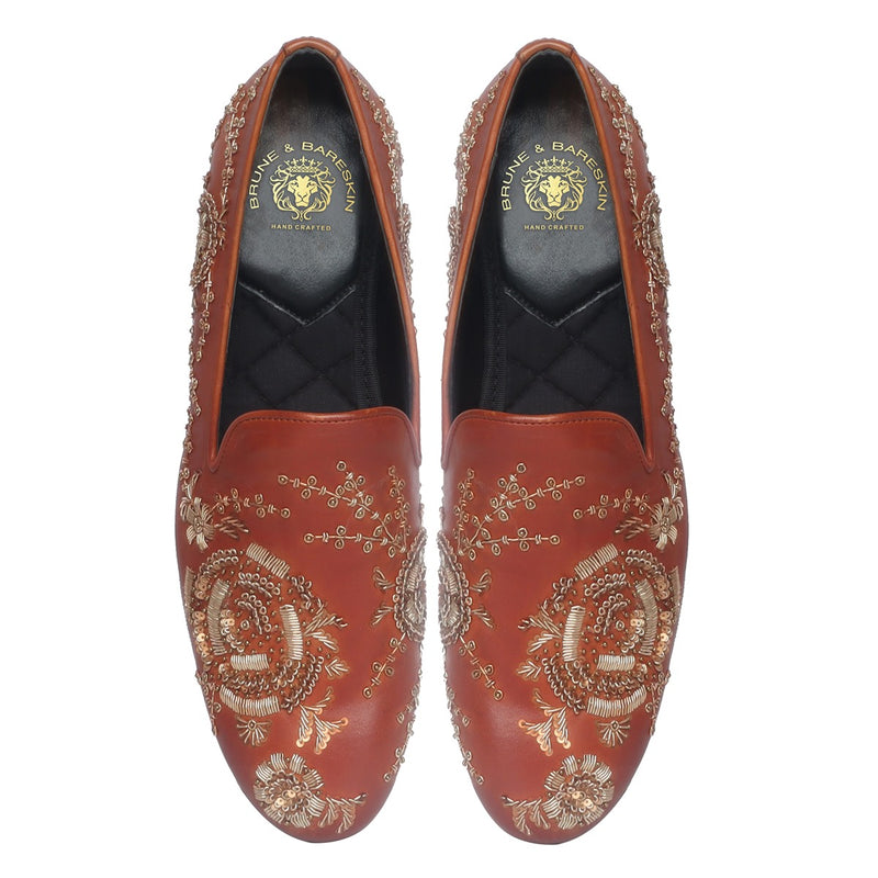 Tan Leather Copper Gold Zardosi Embroidery Slip-On Shoes By Bareskin