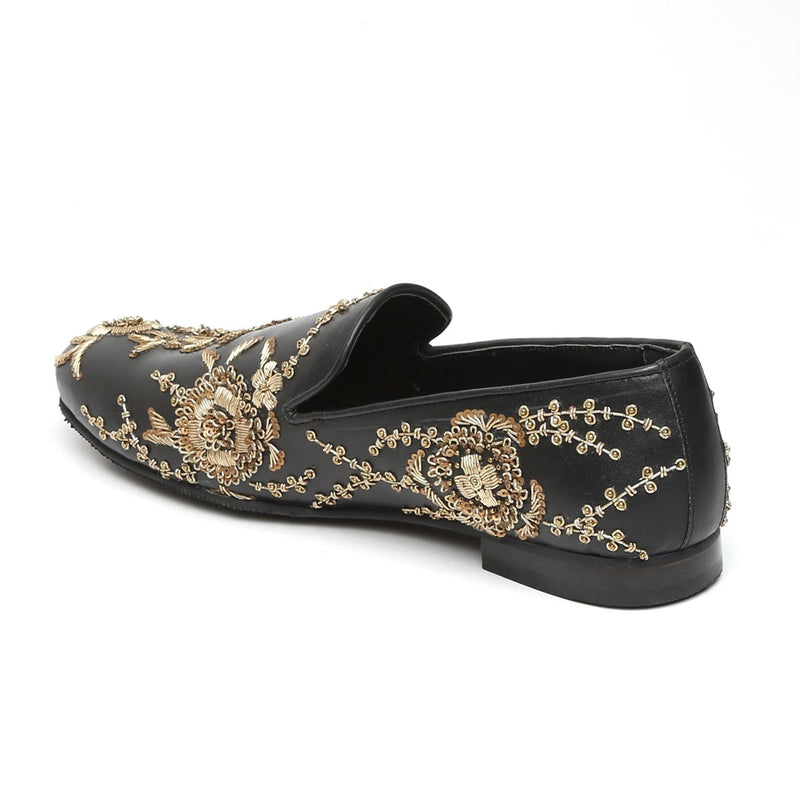 Black Leather Copper Gold Zardosi Embroidery Slip-On Shoes By Bareskin