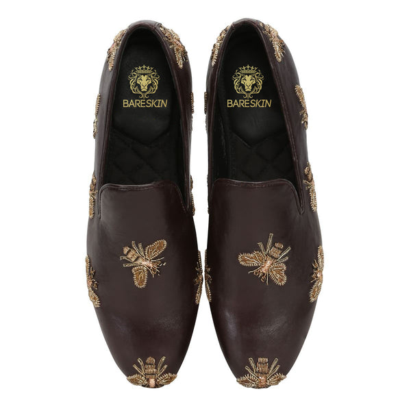 Honey Bee Zardosi Brown Leather Slip-On Shoes By Bareskin