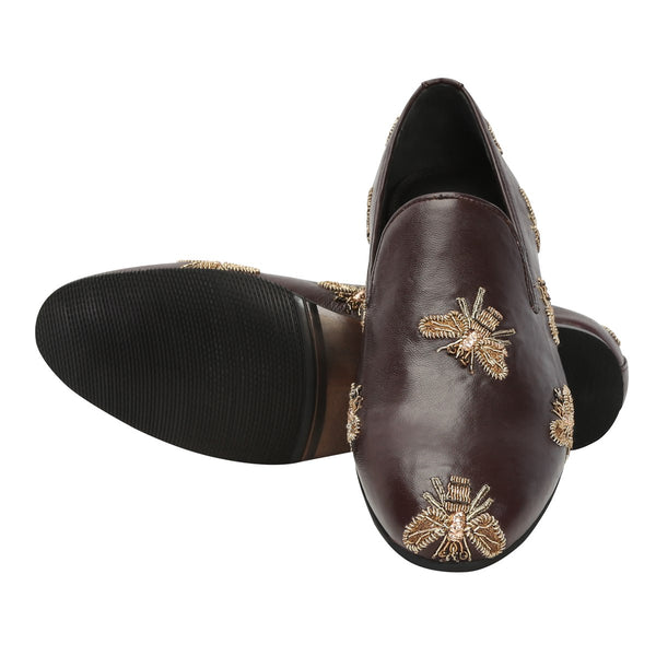 Brown Leather Honey Bee Copper Gold Zardosi Embroidery Slip-On Shoes By Bareskin