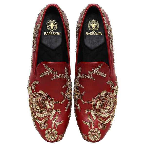 Maroon Leather Copper Gold Zardosi Embroidery Slip-On Shoes By Bareskin