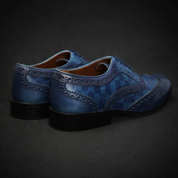 Sky Blue Check Design Dual Shade Leather Brogue Wingtip Oxford Shoes By Brune