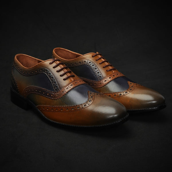 Navy Blue & Tan Dual Color Leather Plain Toe Brogue Wingtip Oxford Shoes By Brune