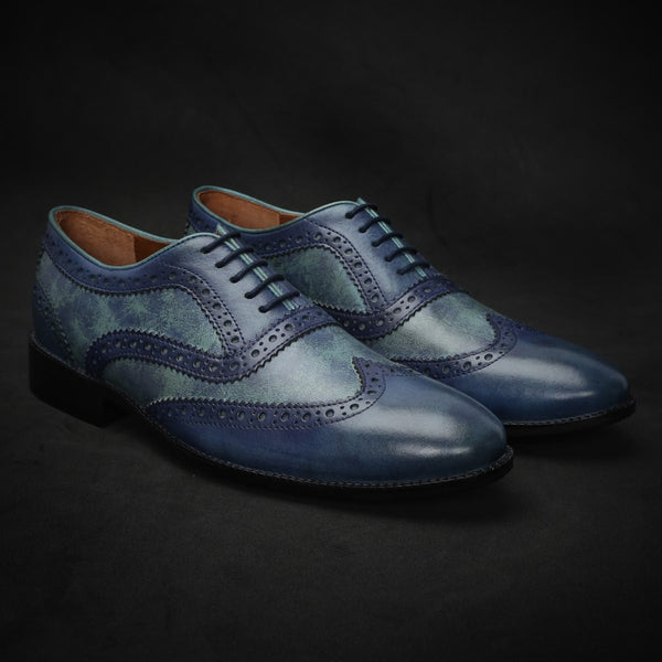 Textured Painted Sky Blue Dual Shade Leather Brogue Wingtip Oxford Shoes By Brune
