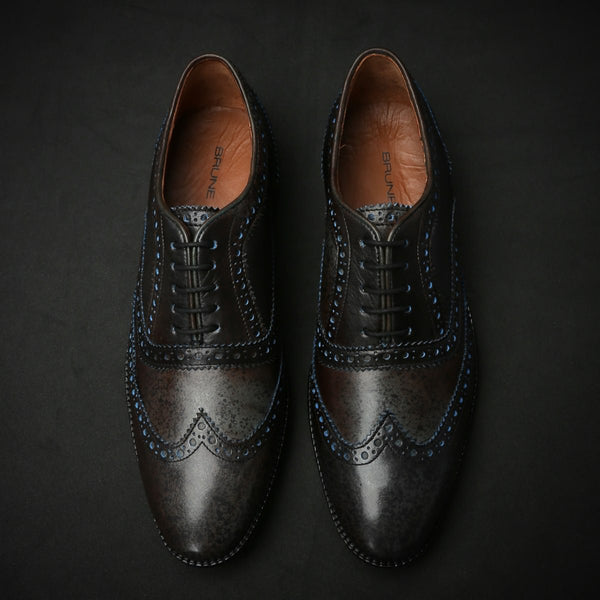 Dark Grey & Blue Dual Shade Leather Brogue Wingtip Oxford Shoes By Brune