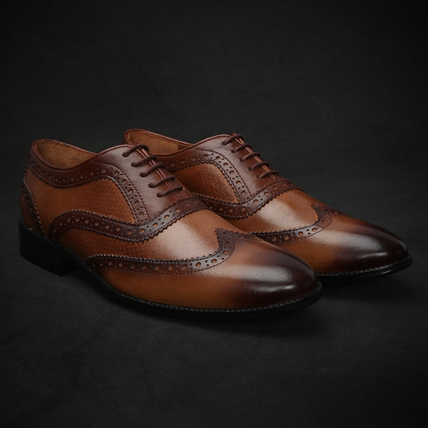 Tan Dual Shade Plain Toe Lace Up Wingtip Oxford Shoes By Brune