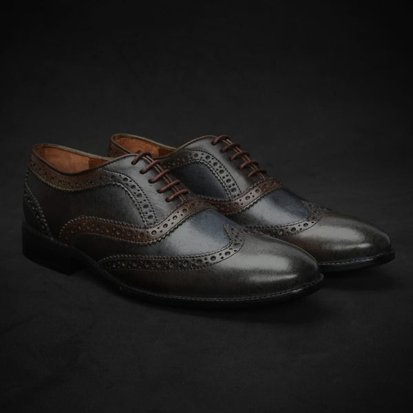 Dark Grey & Brown Dual Shade Leather Brogue Wingtip Oxford Shoes By Brune