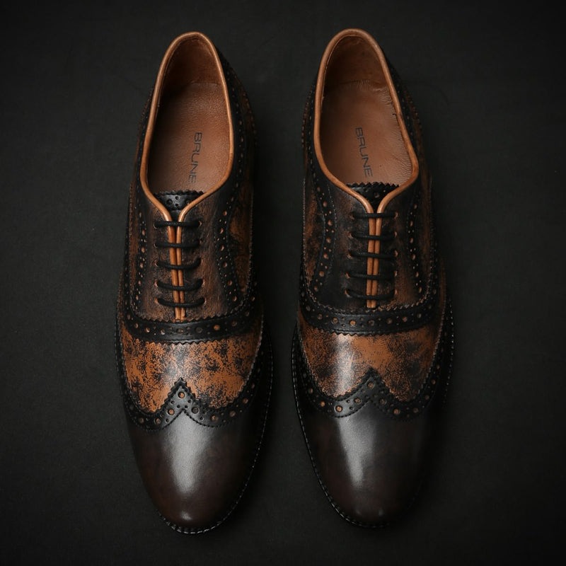 Textured Painted Brown/Tan Dual Shade Leather Brogue Wingtip Oxford Shoes By Brune