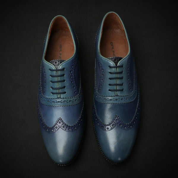Blue Dual Shade Leather Plain Toe Brogue Wingtip Oxford Shoes By Brune