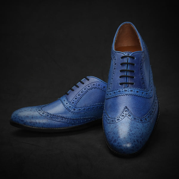 Sky Blue Painted Toe Brogue Wingtip Oxford Shoes By Brune
