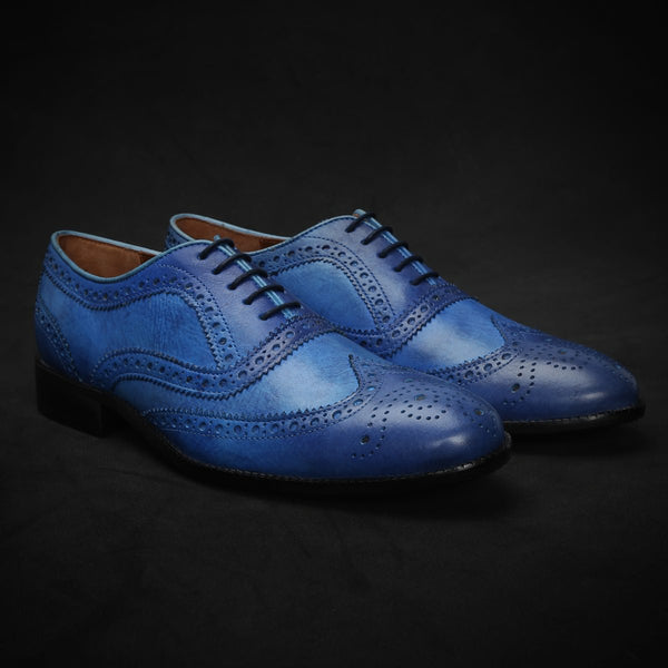 Sky Blue Rugged Leather Full Brogue Wingtip Oxford Shoes By Brune