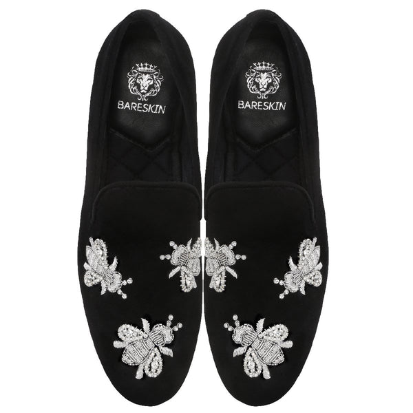Black Velvet Honey Bee Silver Zardosi Embroidery Slip-On Shoes By Bareskin