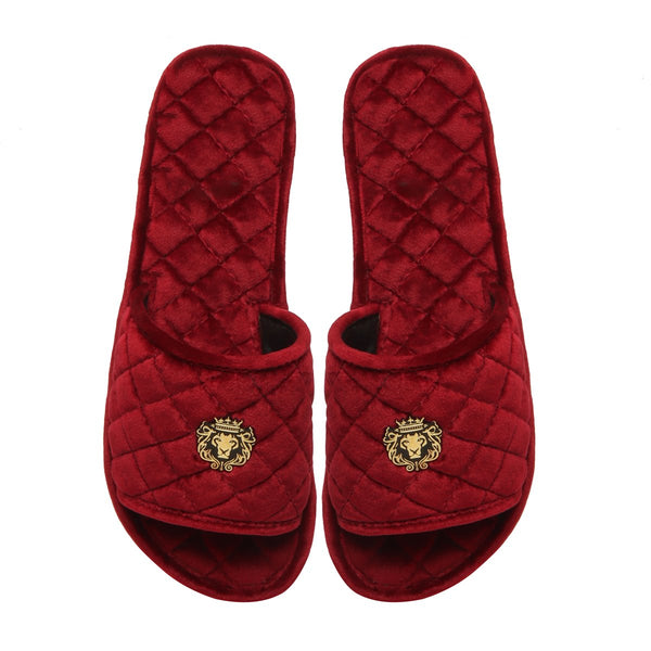 Women's Red Full Quilted Stitched Super Soft Italian Velvet Slide-in Slippers By Bareskin