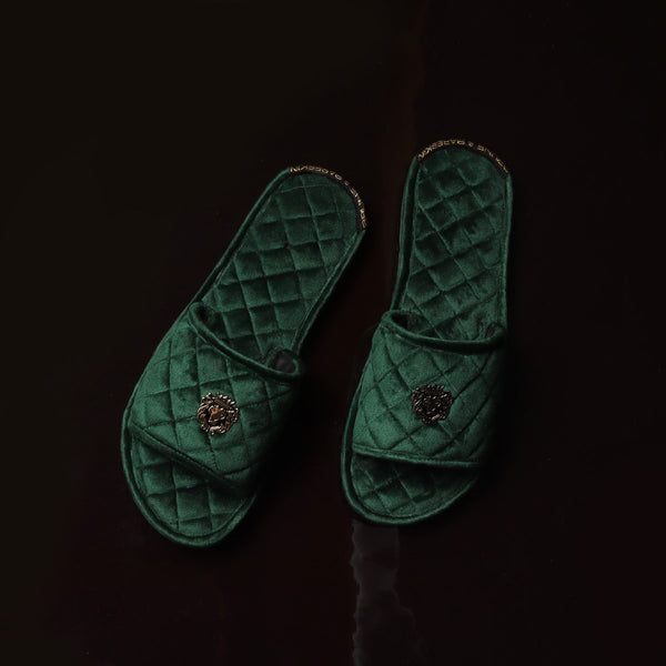 Women's Green Full Quilted Stitched Super Soft Italian Velvet Slide-in Slippers By Brune & Bareskin
