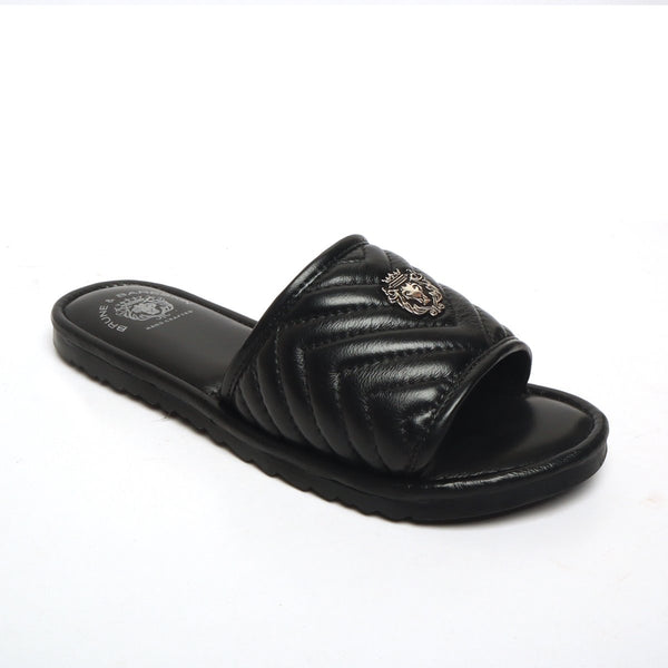 Women's Black Leather Zig-Zag Strap Comfy Slide-in Slippers By Bareskin