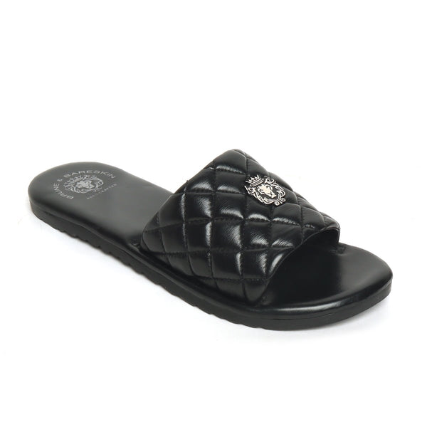 Women's Black Leather Quilted Strap Comfy Slide-in Slippers By Bareskin
