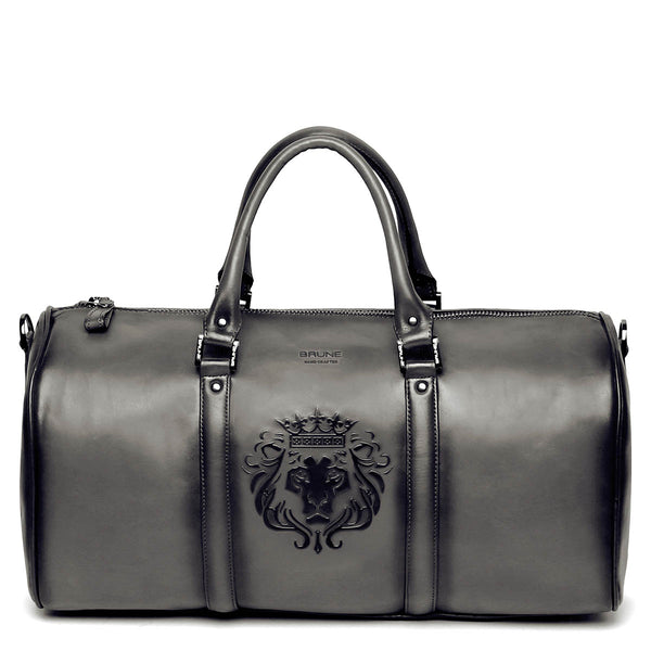 Brune X Bareskin Embossed Lion Grey Leather Duffle Bag