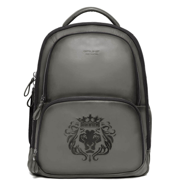 Brune X Bareskin Embossed Lion Grey Leather Backpack