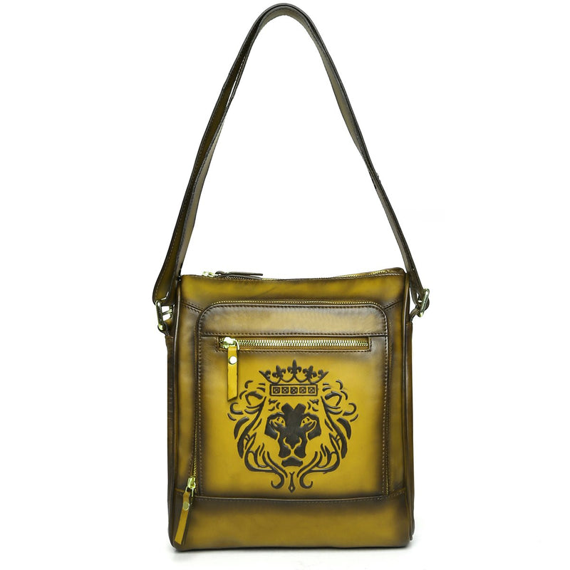 Embossed Lion Olive Green Leather Cross Body Bag By BRUNE