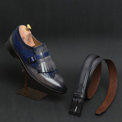 COMBO OF BLUE LEATHER FRINGED SINGLE MONK STRAP SHOES BY BRUNE AND MATCHING GREY BELT