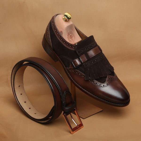 COMBO OF BROWN LEATHER FRINGED SINGLE MONK STRAP SHOES BY BRUNE AND MATCHING BELT