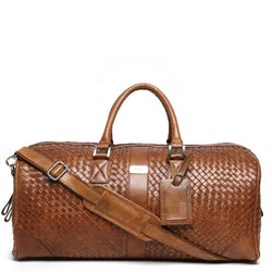 Brune Tan Leather Woven Detailed Duffle Bag