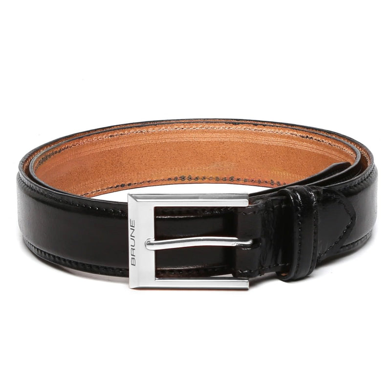 Brune Black With Silver Square Buckle Hand Painted Leather Formal Belt For Men