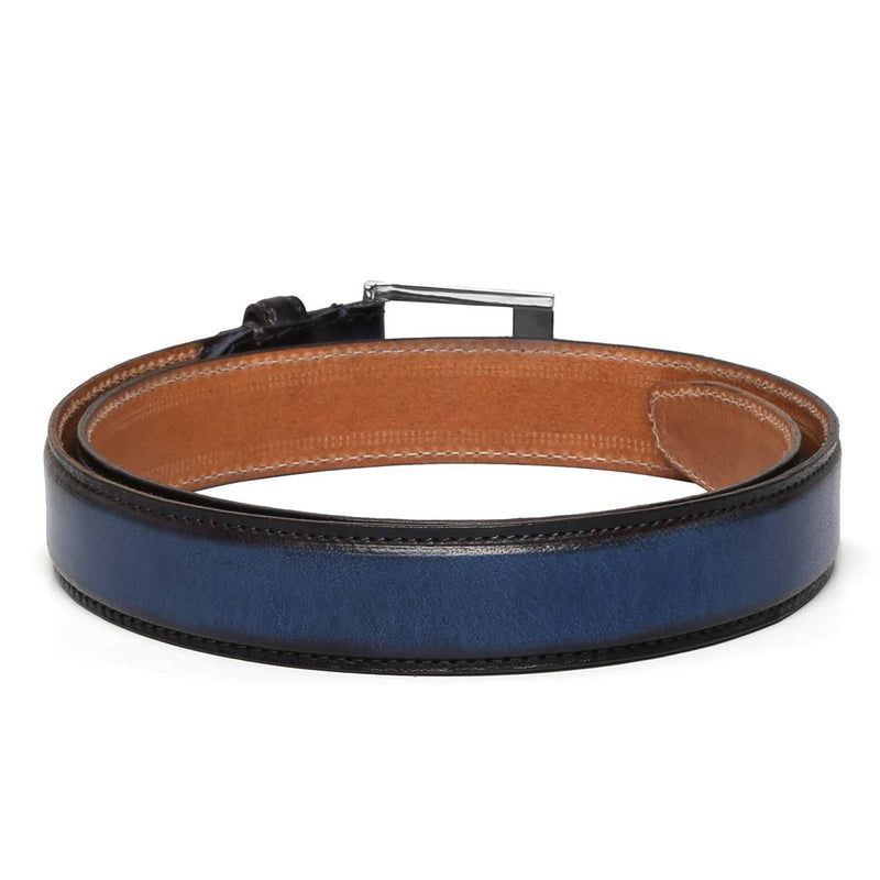 Brune Blue With Silver Square Buckle Hand Painted Leather Formal Belt For Men