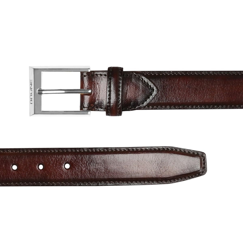 Brune Brown With Silver Square Buckle Hand Painted Leather Formal Belt For Men