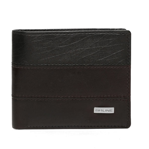 Textured Leather Stripes Sliver Finish Plate Wallet By Brune